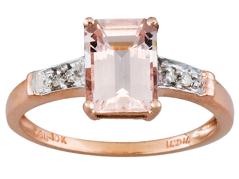 Cor De Rosa Morganite Tm 1 12ct Emerald Cut With Diamond