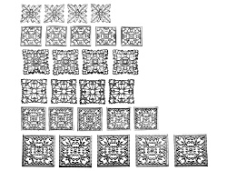 JSKIT0348<br>Romance Square Design Elements Kit In Silver Tone Incl 27 Pieces Total Per Kit 6 Differ