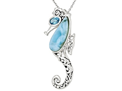 Cabochon with blue topaz 50ct sterling silver seahorse pendant larimar cabochon with blue topaz 50ct sterling silver seahorse pendant with chain aloadofball Images