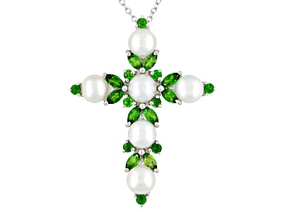Fresh water pearl with 230ctw chrome diopside sterling silver cross cultured fresh water pearl with 230ctw chrome diopside sterling silver cross pendant with chain aloadofball Images