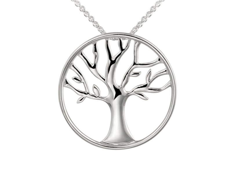 Tree Of Life Polished Sterling Silver 18 Inch Necklace