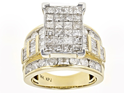Diamond 4 05ctw Princess Cut Round Baguette 14k Yellow Gold Ring