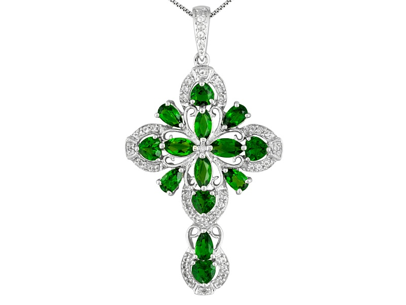 356ctw russian chrome diopside with 37ctw white topaz sterling 356ctw russian chrome diopside with 37ctw white topaz sterling silver cross pendant with chain aloadofball Images