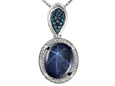500ct blue star sapphire with 09ctw blue 09ctw white diamond 500ct blue star sapphire with 09ctw blue 09ctw white diamond accent silver pendant with chain aloadofball Gallery