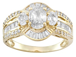 YCA051<br>2.97ctw Oval And Baguette White Zircon With .14ctw Round White Diamond 10k Yellow Gold Rin