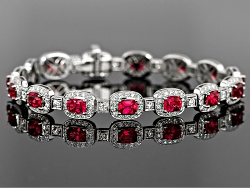 XTG4448<br>Burmese Red Spinel 8.15ctw Cushion With Diamond .91ctw 18k White Gold Bracelet With S.G.L