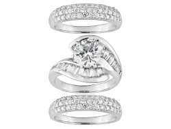 BJJ372<br>Bella Luce (R) 7.31ctw Rhodium Plated Sterling Silver Ring With Bands (5.93ctw Dew)