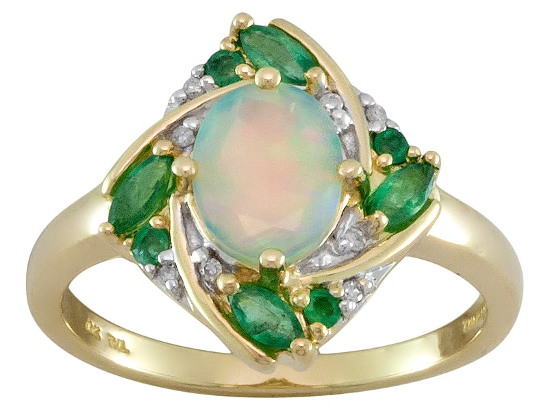 50ct Ethiopian Opal With 29ctw Emerald And 03ctw White