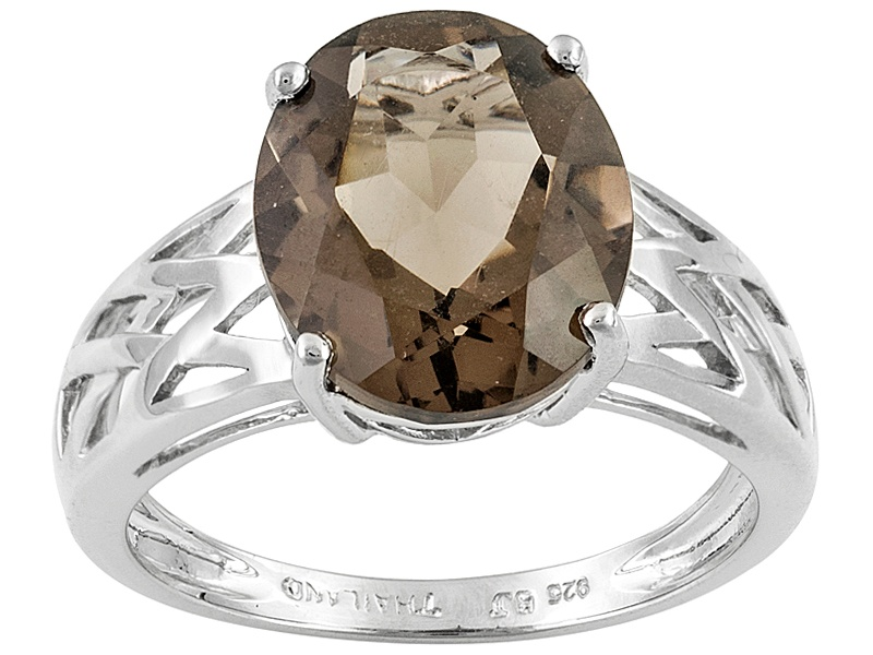 3 40ct Oval Brazilian Smoky Quartz Solitaire Sterling