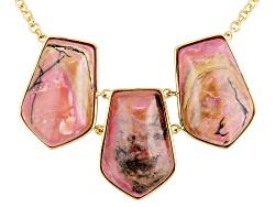 MDA203<br>Moda Di Pietra(Tm) Fancy Cabochon Terracotta Rhodonite 18k Gold Over Bronze Necklace