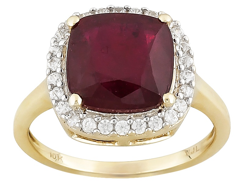 3 50ct Square Cushion Mahaleo R Ruby With 30ctw Round