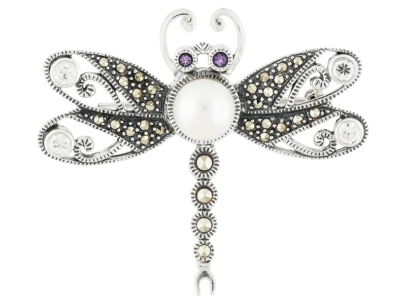 .64ctw Marcasite,White Topaz,Cultured Fwp,Amethyst Silver