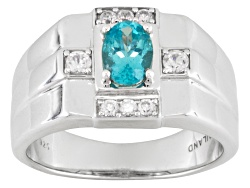MJW266<br>.63ct Oval Blue Apatite And .37ctw Round White Zircon Sterling Silver Mens Ring.