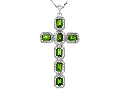Ctw emerald cut russian chrome diopside sterling silver mens cross 370ctw emerald cut russian chrome diopside sterling silver mens cross pendant with chain aloadofball Images