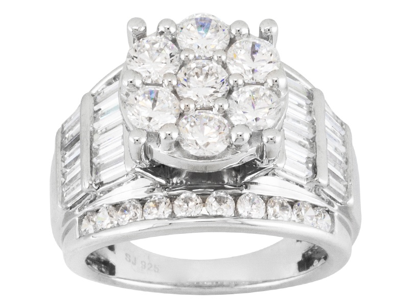 Pre Owned Bella Luce R 7 14ctw Round And Baguette Rhodium Over Sterling Silver Ring