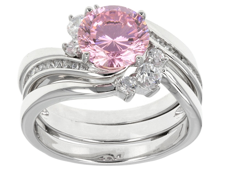 Bella Luce R Dillenium Cut 4 33ctw Rhodium Over Sterling Silver Ring With Guard 2 58ctw Dew