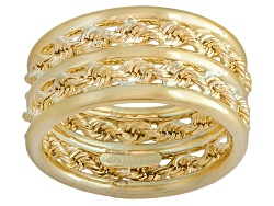 CNG350<br>10k Yellow Gold Double Rope Link And Polished Band Ring