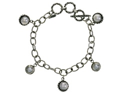 SRA271<br>Artisan Gem Collection Of Bali(Tm) Round White Cultured Freshwater Pearl Silver Charm Brac