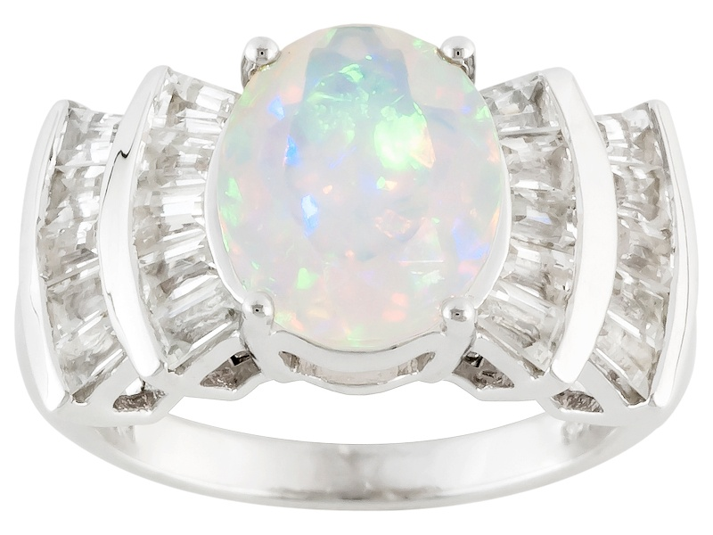 2 00ct Oval Ethiopian Opal With 1 52ctw Baguette White