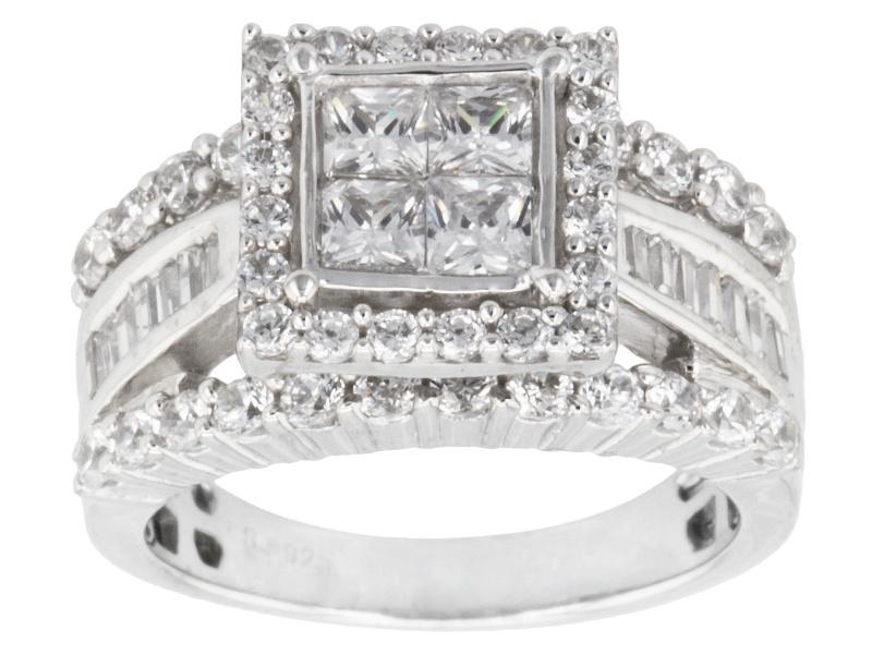 Bella Luce R 3 85ctw Diamond Simulant Rhodium Over Sterling Silver Ring 2 10ctw Dew