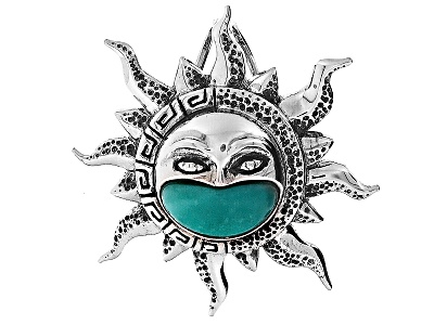 Styletm fancy cut mexican campitos turquoise sterling silver sun aztec styletm fancy cut mexican campitos turquoise sterling silver sun pendant mozeypictures Image collections