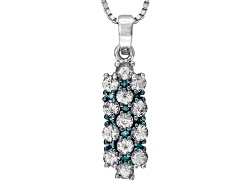 MXH108<br>.76ctw Round White Sapphire With .05ctw Round Blue Diamond Accent Sterling Silver Pendant