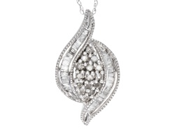 DOCH787P<br>.50ctw Round And Baguette Diamond 14k White Gold Pendant