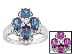 JLH715<br>1.72ctw Oval Lab Created Color Change Alexandrite With .23ctw Round White Zircon Silver Ri