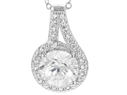 USH134<br>2.05ctw Round White Zircon Sterling Silver Pendant With Chain