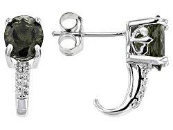 TEH076<br>2.80ctw Oval Moldavite And .10ctw Round White Zircon Sterling Silver J-hoop Earrings