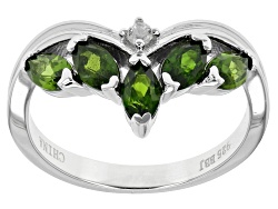 TEH122<br>1.06ctw Marquise Russian Chrome Diopside With .05ct Round  White Zircon Sterling Silver Ri