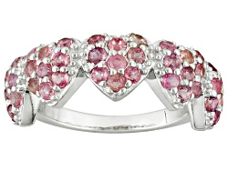 TEH223<br>1.42ctw Round Pink Tourmaline Sterling Silver Five Heart Band Ring