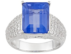 TEH234<br>3.82ct Emerald Cut Color Change Fluorite With .66ctw Round White Zircon Sterling Silver Ri