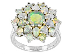 TEH462<br>2.55ctw Round And Pear Shape Ethiopian Opal Sterling Silver Ring