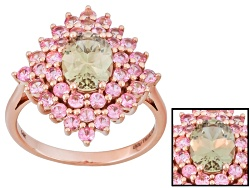 ZUL016<br>1.00ct Oval Zultanite(R) And 1.37ctw Round Pink Sapphire 14k Rose Gold Ring