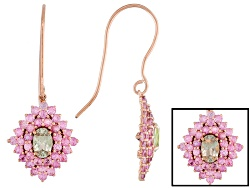 ZUL017<br>.80ctw Oval Zultanite(R) And 1.80ctw Round Pink Sapphire 14k Rose Gold Earrings