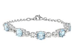 OCH130<br>10.63ctw Round Glacier Topaz(Tm) With 1.72ctw Round White Zircon Sterling Silver Bracelet