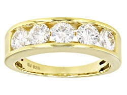 MSN588Y<br>Moissanite Fire(R) 1.65ctw Diamond Equivalent Weight Round Yellow Gold Over Silver Ring