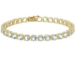 12 62ctw Round Aquamarine 14k Yellow Gold Tennis Bracelet