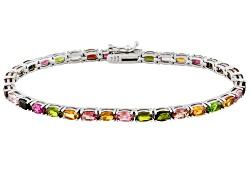OCH221<br>6.30ctw Oval Multi Color Tourmaline Sterling Silver Tennis Bracelet
