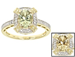 ZUL029R<br>1.00ct Oval Zultanite(R) With .15ctw White Diamonds And .05ctw Yellow Diamond Accents 14k