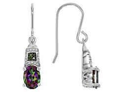 DJH064<br>1.60ctw Oval Multi Color Mystic Topaz(R) With .03ctw Round Green Diamond Accent Silver Ear