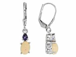 DJH159<br>1.16ctw Oval Ethiopian Opal With .24ctw Pear Shape Iolite Sterling Silver Dangle Earrings