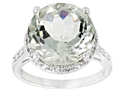 JCH012<br>8.67ct Round Prasiolite And .23ctw Round White Topaz Sterling Silver Ring