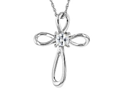 MSN905<br>Moissanite Fire(R) .41ct Diamond Equivalent Weight Round Platineve(Tm) Cross Pendant With