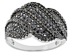 DOCY915<br>1.00ctw Round Black Spinel Sterling Silver Ring