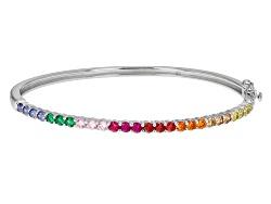 BJQ009<br>Bella Luce (R) 4.32ctw Multi Color Sapphire Simulants Rhodium Over Sterling Silver Bracele