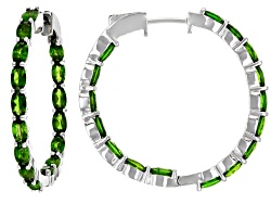DOCY996<br>8.20ctw Oval Russian Chrome Diopside Sterling Silver Hoop Earrings
