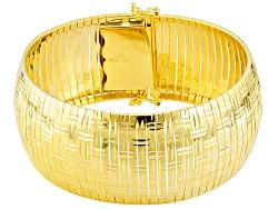 SVR148Y<br>18k Yellow Gold Over Sterling Silver Diamond Cut Omega Link 7 1/2 Inch Bracelet