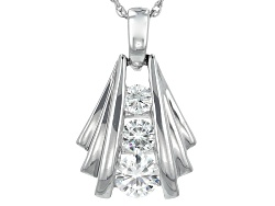 MSN966<br>Moissanite Fire(R) .59ctw Diamond Equivalent Weight Round Platineve(Tm) Pendant With Chain